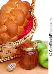 cesta, de, bread, miel, y, manzanas