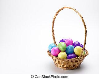 cesta, de, coloridos, ovos páscoa