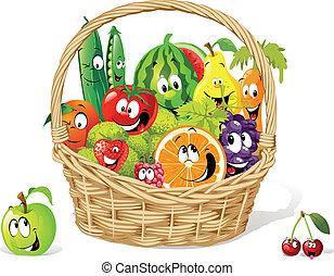 cesta, de, feliz, fruta, e, vegetal