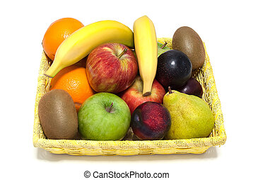 cesta, de, frutas