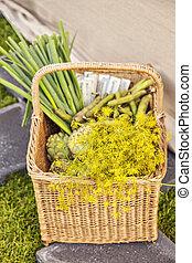 cesta, de, legumes