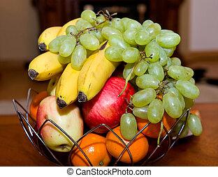 cesta, de, maduro, fruta