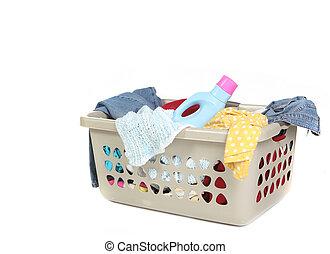 cesta, detergente, cheio, lavanderia, sujo