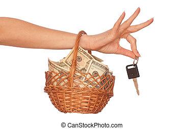 cesta, dinheiro