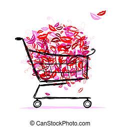 cesta, diseño, labios, compras, su
