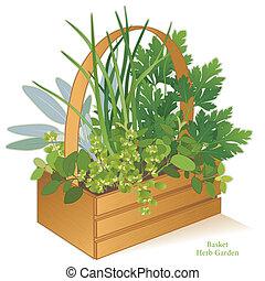 cesta, erva, madeira, jardim