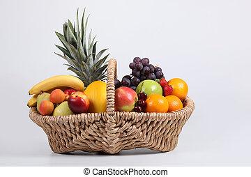 cesta, estúdio, fruta, tiro, fresco
