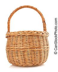 cesta feito vime, branco, fundo