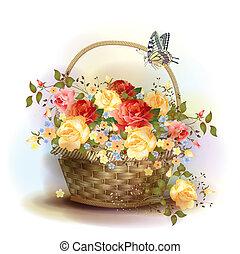 cesta feito vime, com, roses., vitoriano, style.