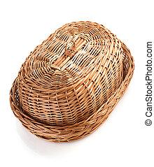 cesta feito vime, isolado, branca