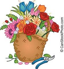 cesta flor, arranjo, coloridos