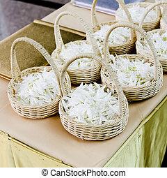 cesta, flor branca, casório