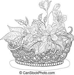 cesta, flores, contornos