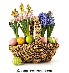cesta, flores del resorte, con, huevos de pascua