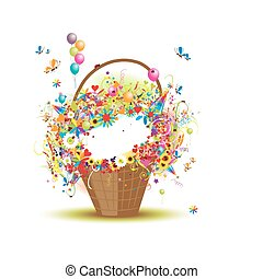 cesta, flores, desenho, seu