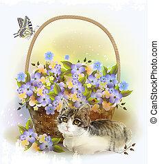 cesta, flores, violeta, gatito