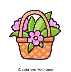 cesta, flowers.