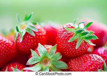cesta, fresas, jugoso, maduro
