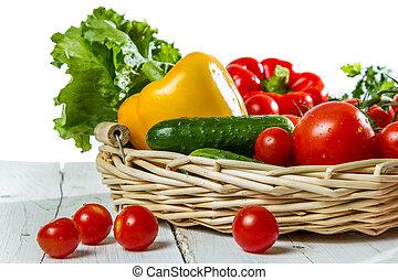 cesta, fresco, legumes