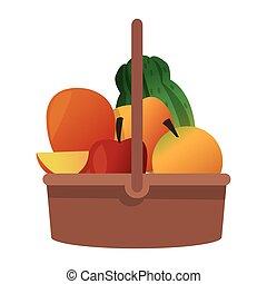 cesta, fruta, ícone