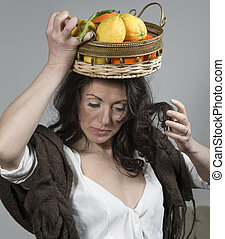 cesta fruta, cabeça, mulher, dela