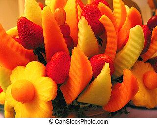 cesta, fruta, colorul, detalle