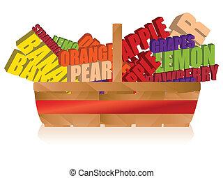 cesta fruta, com, tipografia