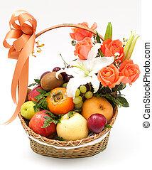 cesta, fruta, flor