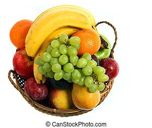 cesta, fruta, sobre