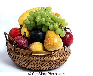 cesta, fruta, vista lateral