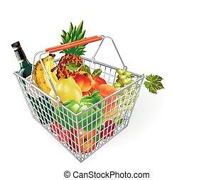 cesta, frutas