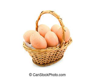 cesta, galinha, cana, ovos