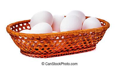 cesta, huevos, bambú