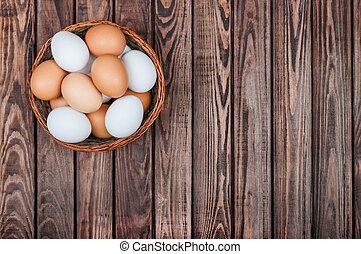 cesta, huevos