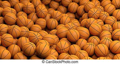 cesta, interpretación, pelotas, plano de fondo, 3d