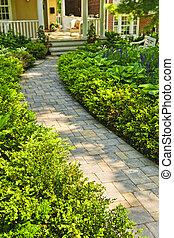 cesta, kámen, krajinomalba, zahrada, domů