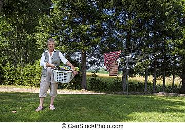 cesta, lavanderia, mulher, antigas