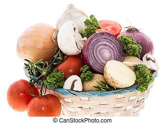 cesta, legumes, branca