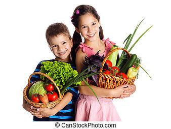cesta, legumes, crianças, sorrindo