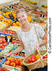 cesta, legumes, enchimento, dela