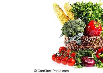 cesta, legumes frescos, encantador