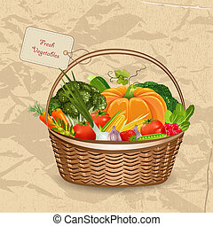 cesta, legumes frescos, para, seu, desenho