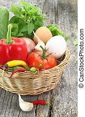 cesta, legumes frescos, vime
