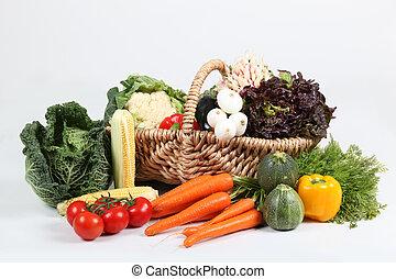 cesta, legumes, fundo branco