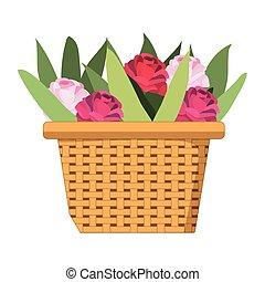 cesta, lindo, flores