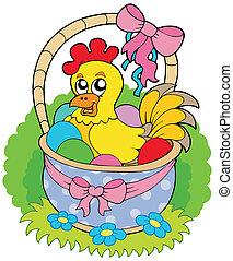 cesta, lindo, pollo, pascua