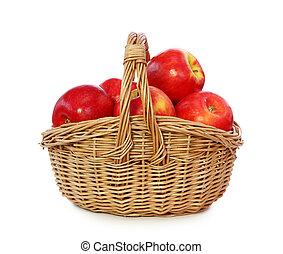 cesta, maçãs, vermelho
