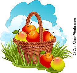 cesta, maçãs