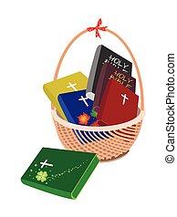 cesta, marrón, biblia, seis, santo
