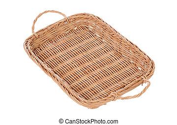 cesta, marrom, fundo branco, vime